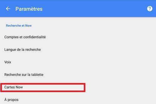Google Now Cartes