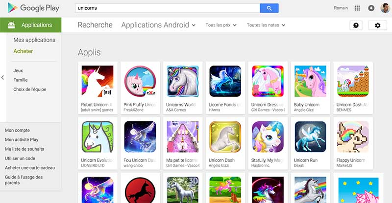 google play licorne