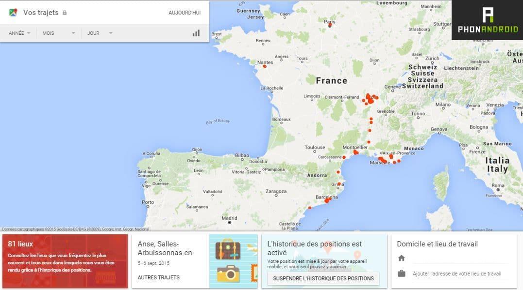 historique localisation google maps