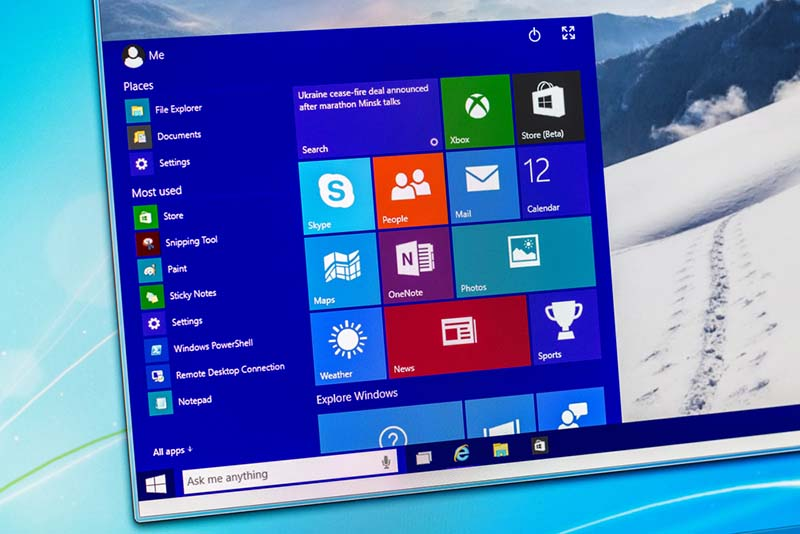 menu demarrer windows 10 publicite
