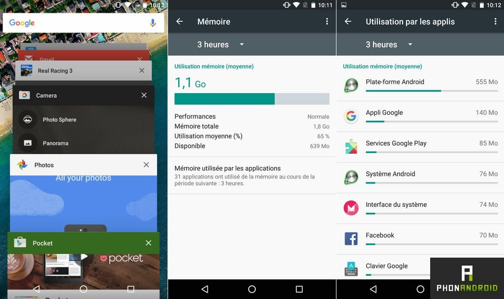 nexus 5x gestion memoire