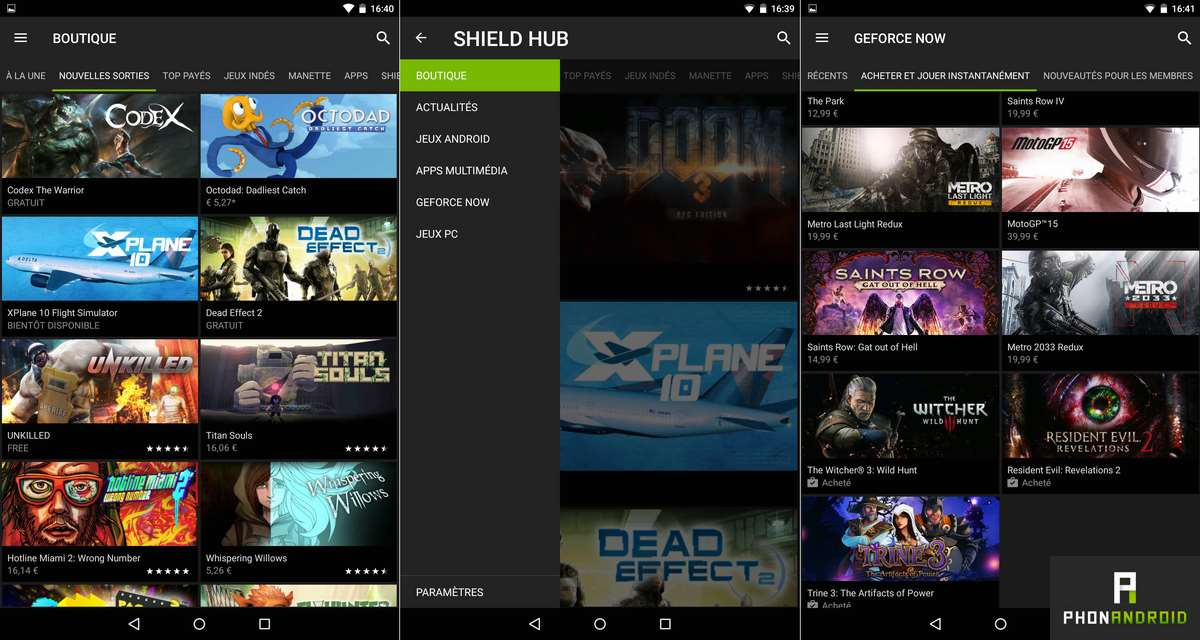 nvidia shield tablet k1 hub jeux