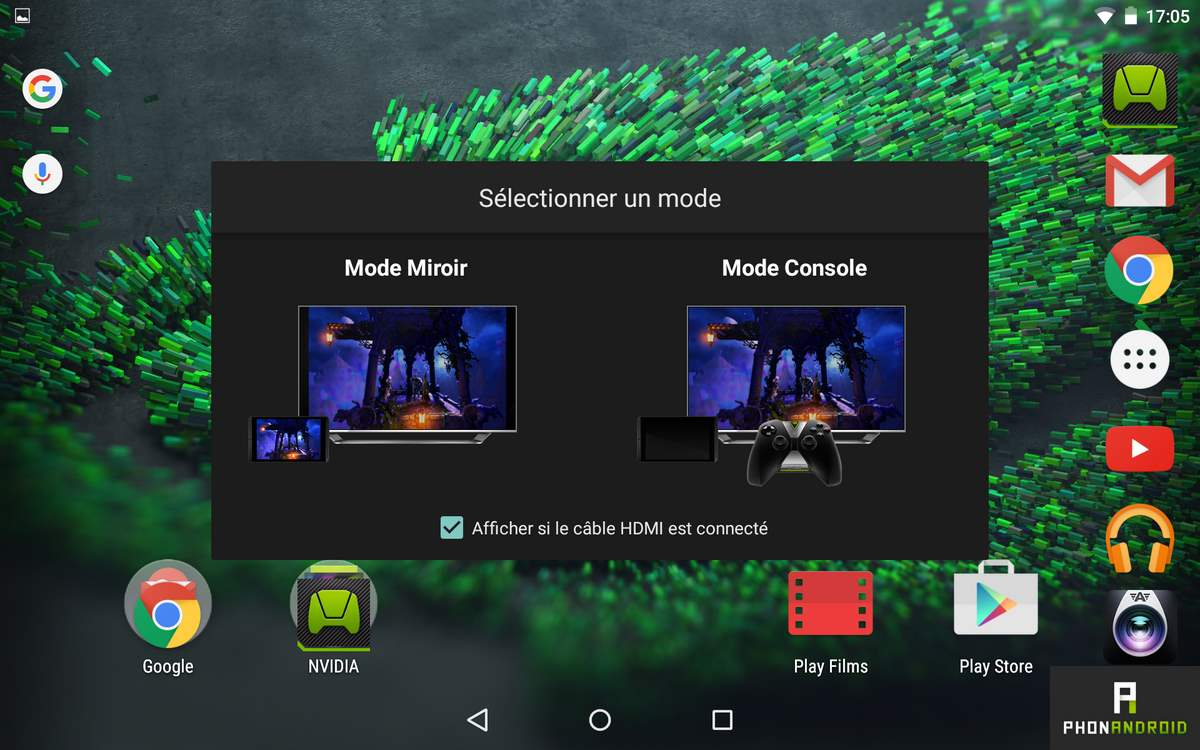 nvidia shield tablet k1 mode console miroir