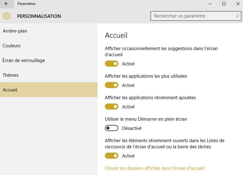 personnalisation windows 10