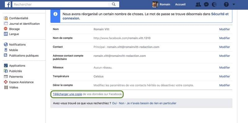 sauvegarder compte facebook