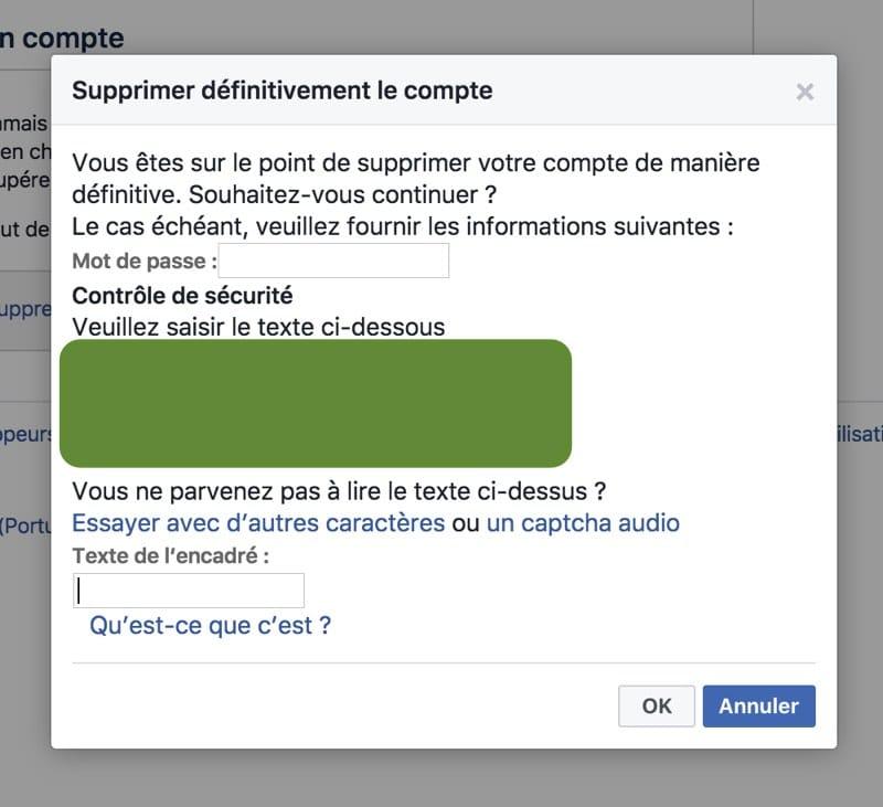 supprimer definitivement compte facebook