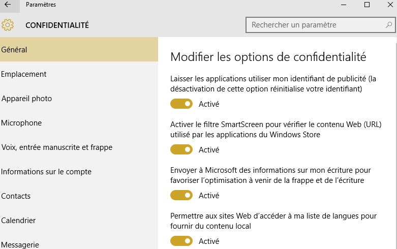 windows 10 confidentialite