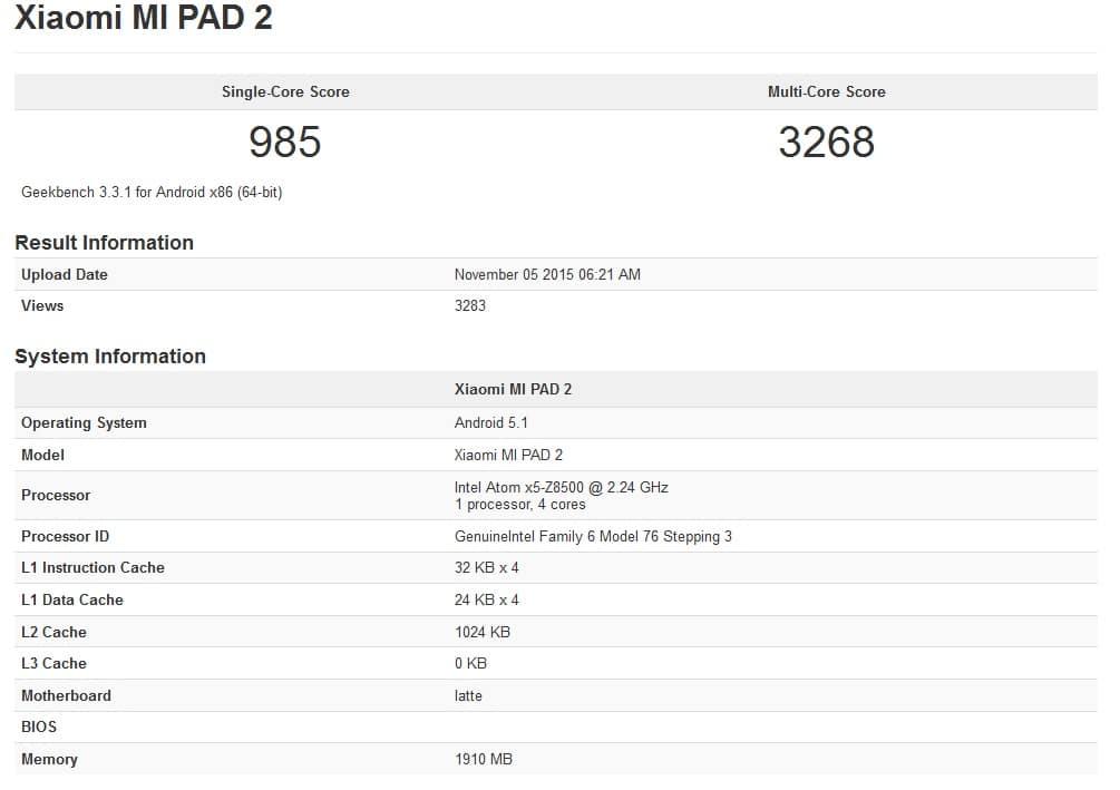 Xiaomi MiPad 2 Geekbench