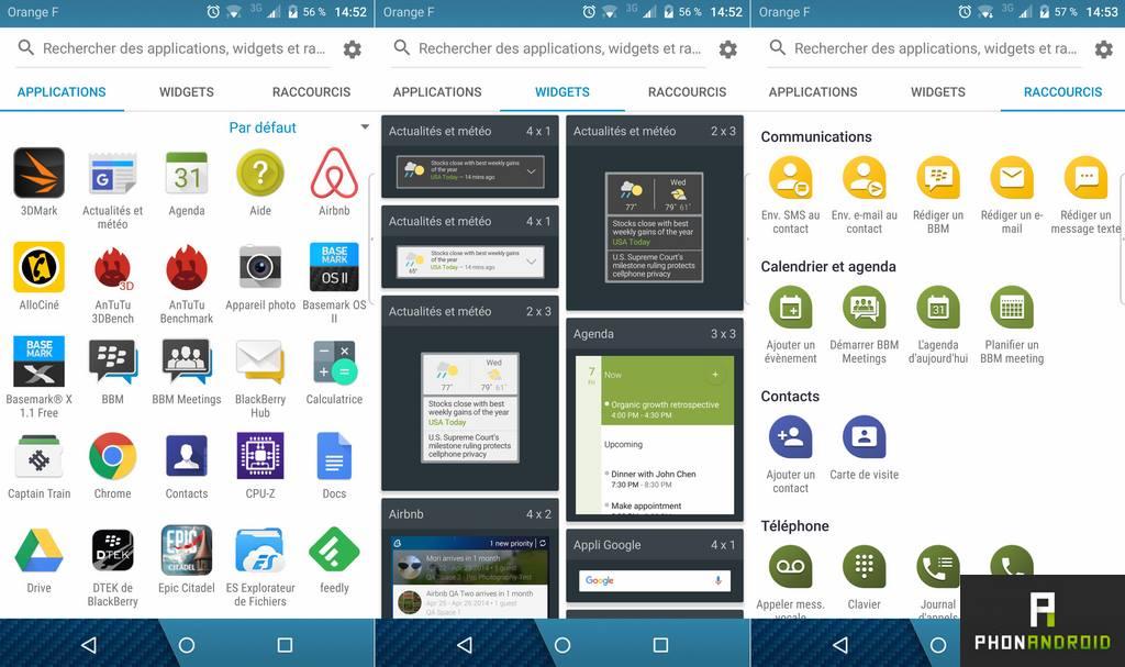 blackberry priv lanceur application