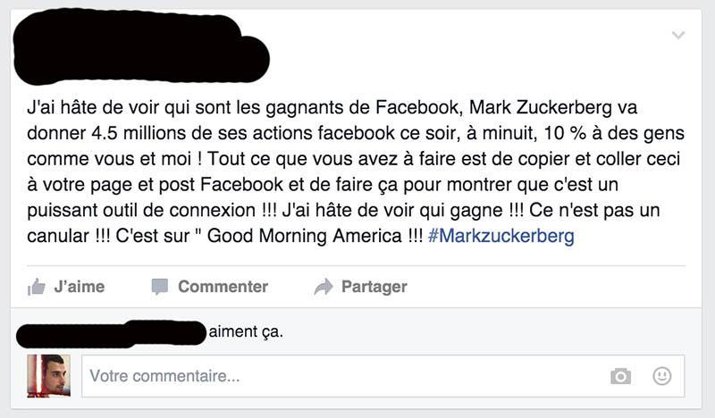 facebook arnaque statut