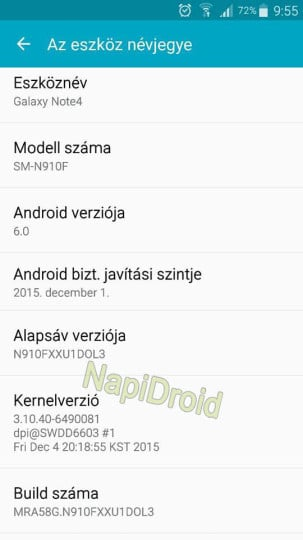 Galaxy Note 4 Android Marshmallow