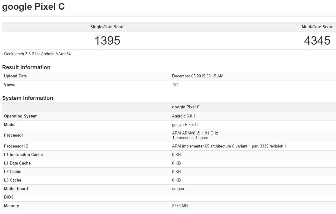 Google Pixel c benchmark 1