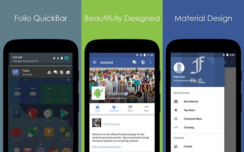 Interface Folio pour Facebook