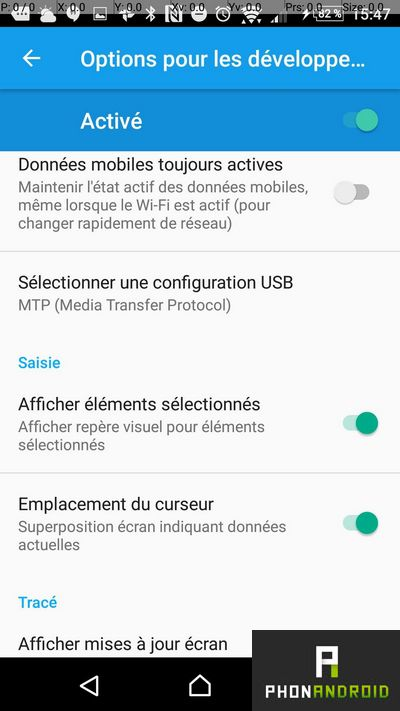 android curseur