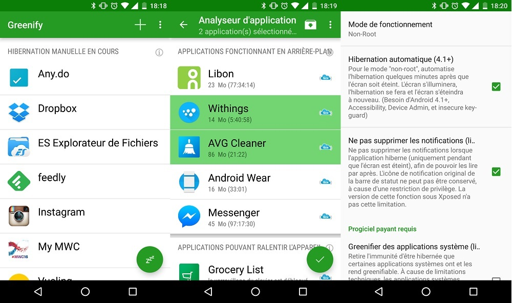 application greenify android
