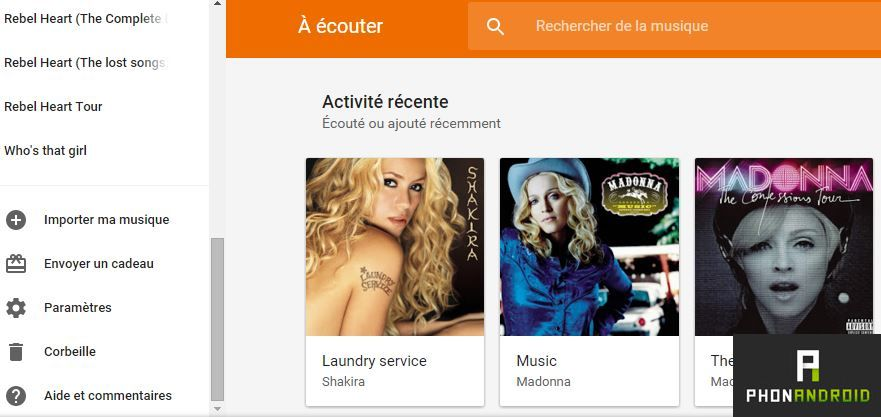 Google Play musique importer