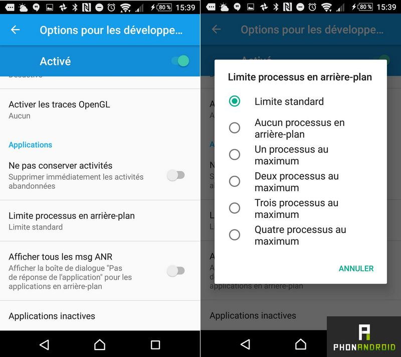 limiter processus android