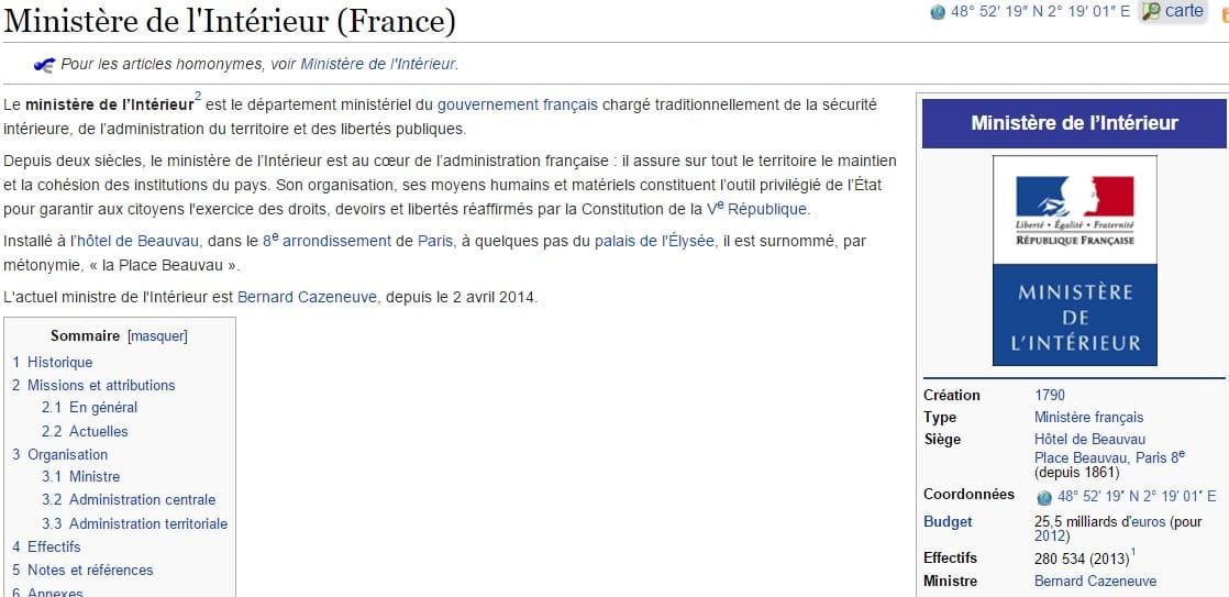 ministere interieur wikipedia