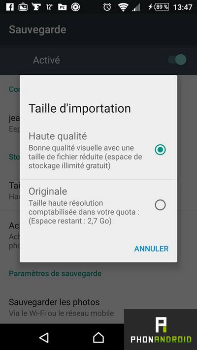 Google Photos sauvegarde