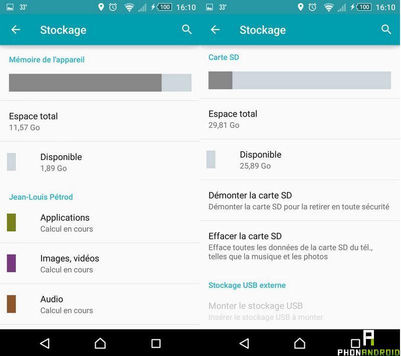 stockage smartphone