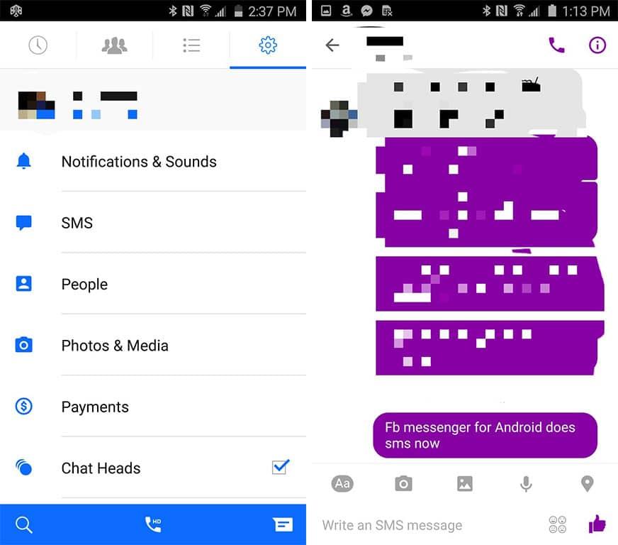 Facebook Messenger réintègre les SMS