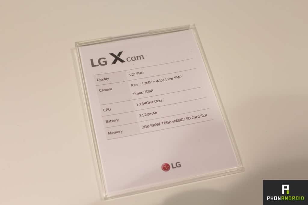 LG X cam fiche technique
