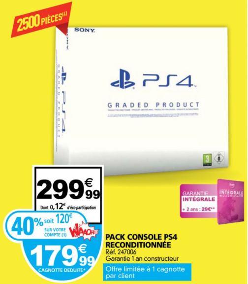 PS4 reconditionné 40% remboursé chez Auchan