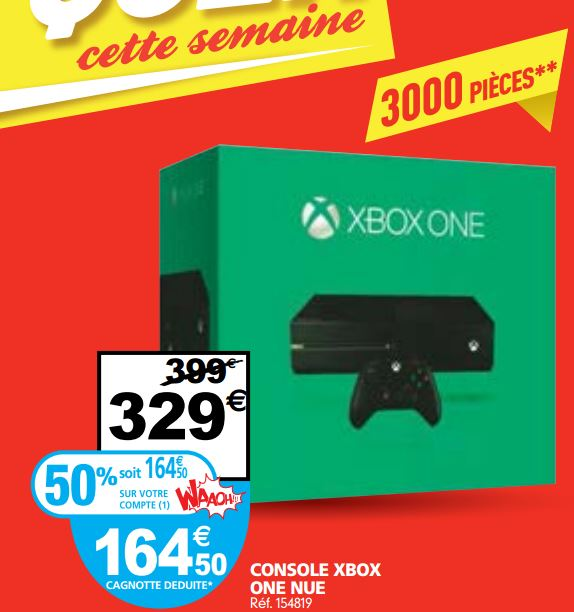 bon plan xbox one 50 au lieu de 329 auchan. Black Bedroom Furniture Sets. Home Design Ideas