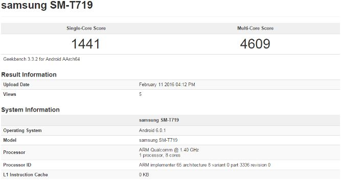 Galaxy Tab S3 Geekbench