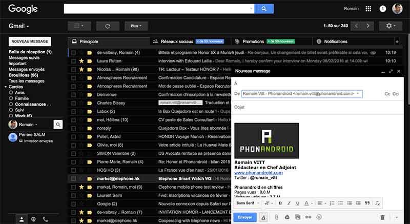 gmail boite ecriture