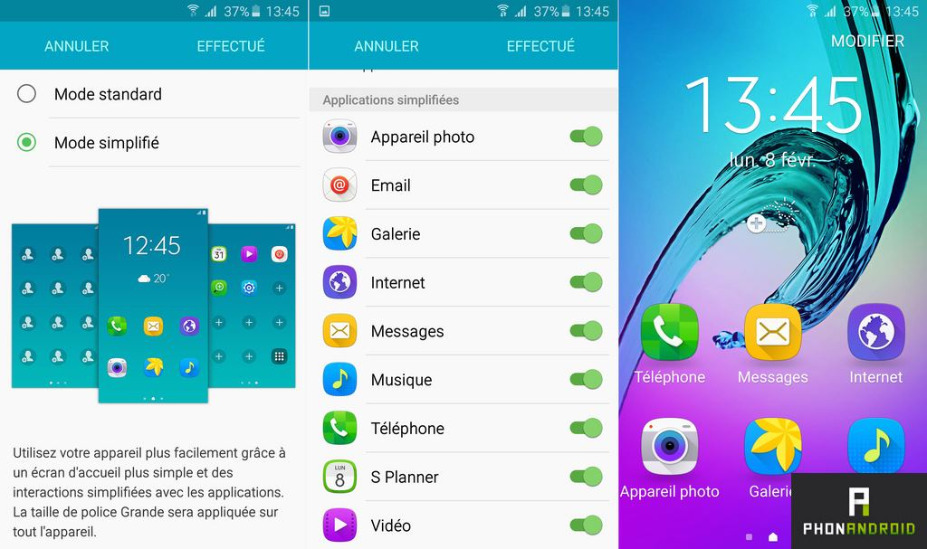 samsung galaxy a5 2016 mode simplifie