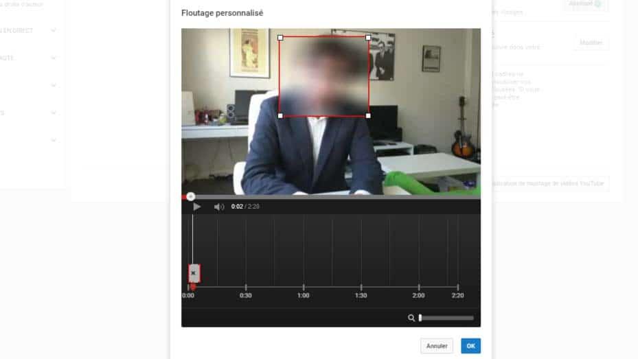 YouTube et option de flou