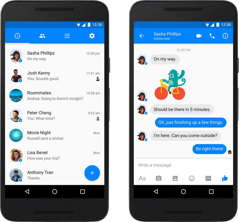 Facebook Messenger Material design