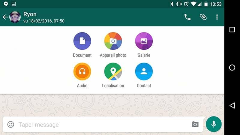 Envoi de fichiers sur WhatsApp