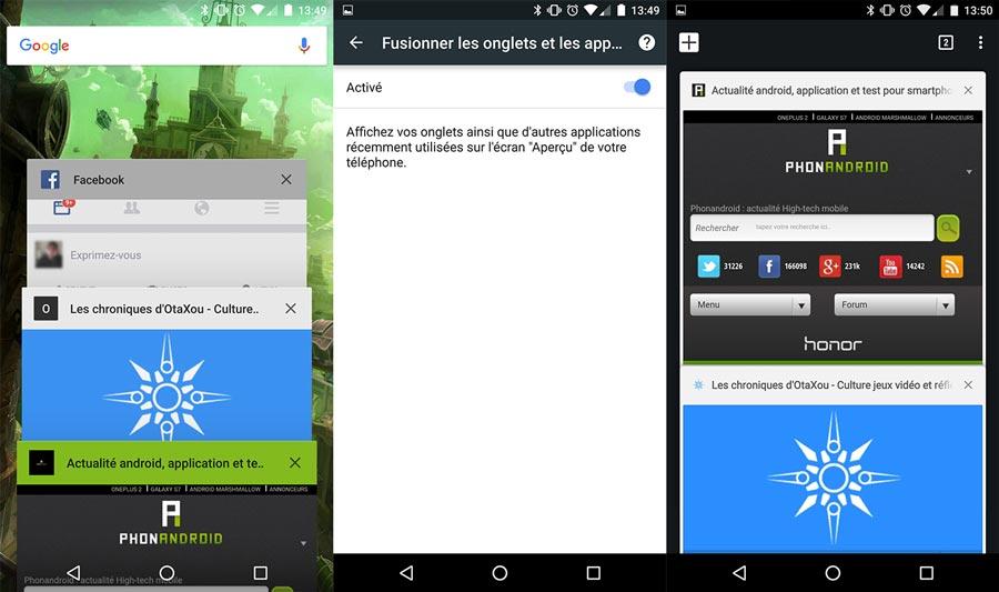 Onglets de Chrome sur Android