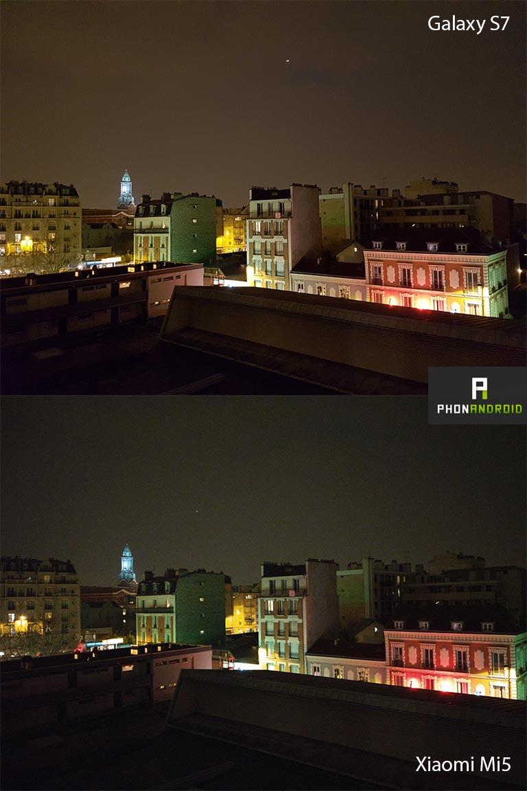 Panorama de nuit S7 et Mi5