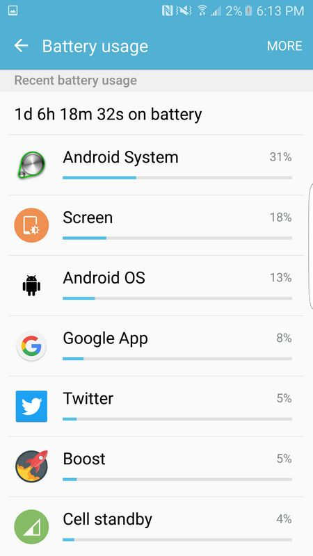 consommation batterie galaxy S7 Edge