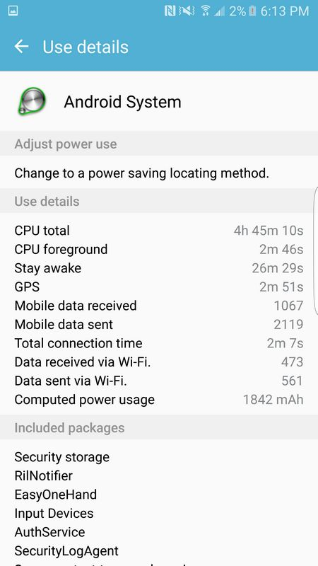 galaxy S7 Edge consommation batterie