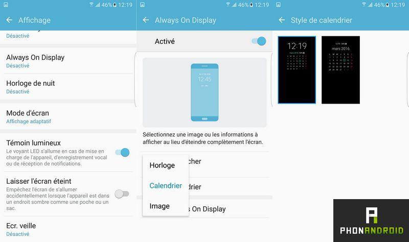 Galaxy S7 activer always on