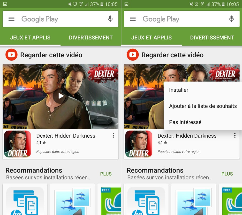 google play store video recommandee