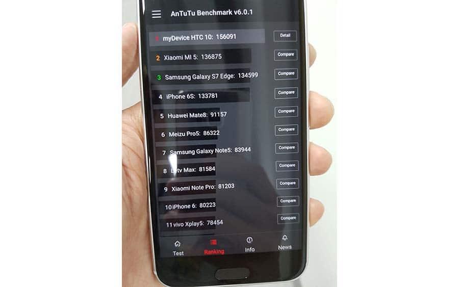 HTC 10 score AnTuTu