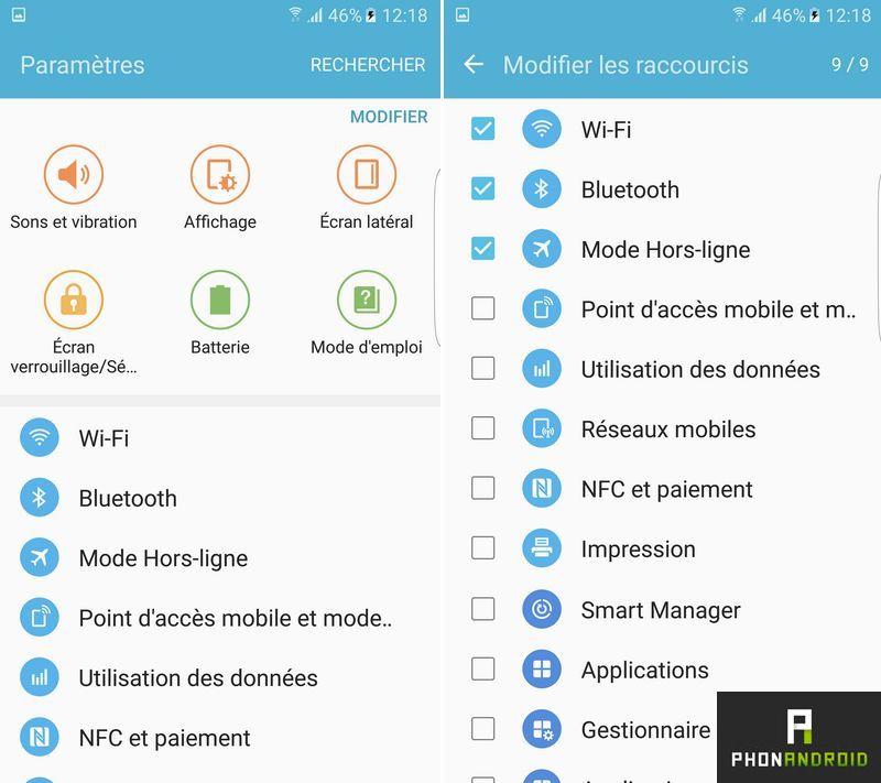 Galaxy S7 personnaliser parametres