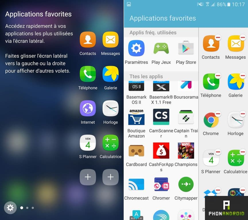 samsung galaxy s7 edge application ecran edge