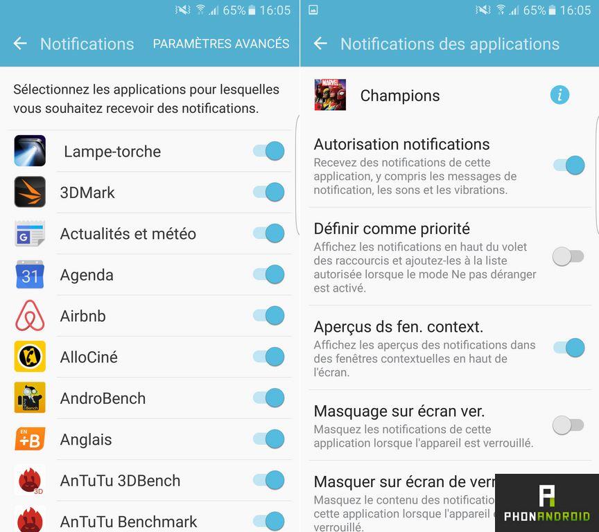 samsung galaxy s7 edge notifications applications