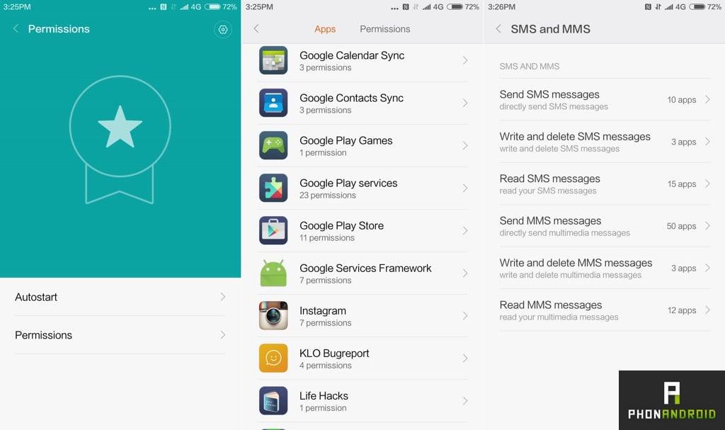 xiaomi mi5 permissions applications