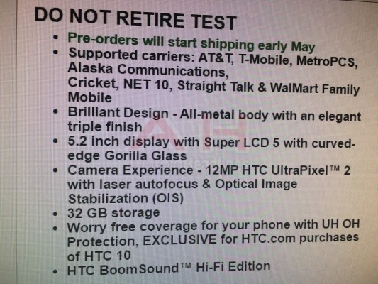 htc 10 specifications