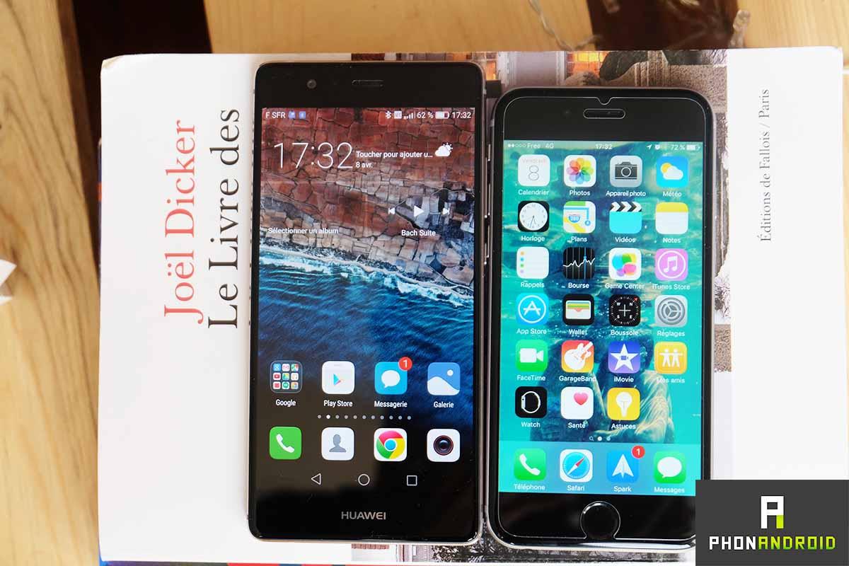 huawei p9 iphone 6s ecran