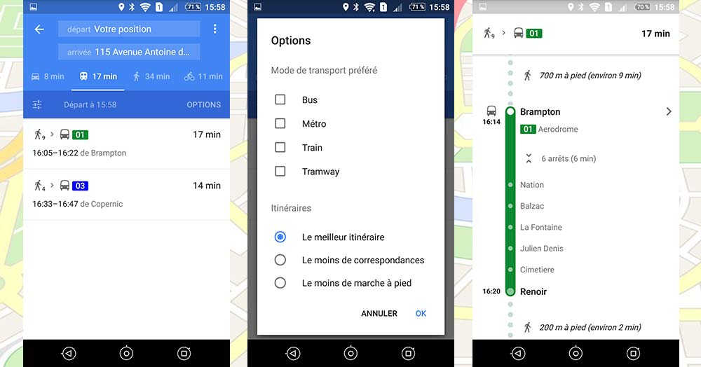transport en commun google maps gps