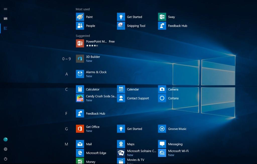 Windows 10 Anniversaire nouveau menu démarrer