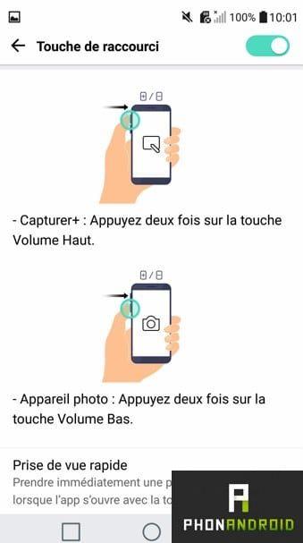 LG G5 raccourcis applications
